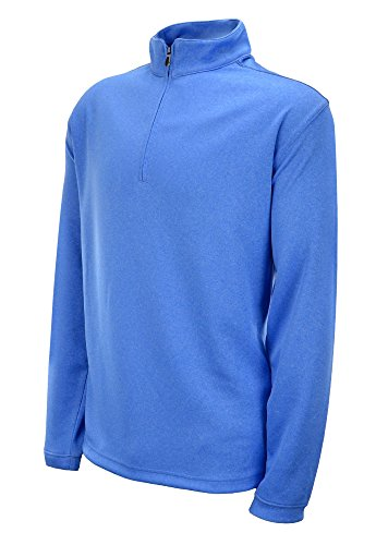 - Pebble Beach Men's Performance Tech 1/4 Zip Pullover Long Sleeve Shirt (Medium, Light Blue)