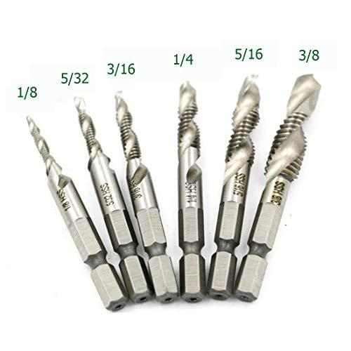 "HUAZHICHUN 6Pcs Drill Tap Combination Bit Set, 1/4"" Hex Shank High Speed Steel Drill Bit Spiral Screw Thread Taps Drill Bits Set HSS 4341 Counter sink"