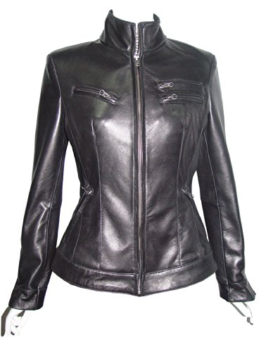 Collar Zip Front Leather Jacket - 8