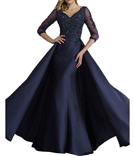 Charmant Lang Navy Glamout Silber Ballkleider Damen Blau Abendkleider Festlichkleider Spitze Promkleider Abschlussballkleider r14prFqzAw