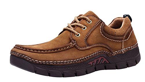LOUECHY Mens Plawas Walking Shoes Comfort Casual Shoe Leather Loafers Khaki 3NzyMiQ