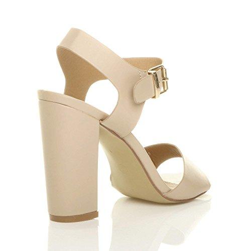 Scarpe Tacco Numero Sandali Cinturino Opaco alla con Alto Caviglia Beige Ajvani Casual Donna Fibbia pwxHn5pvfF