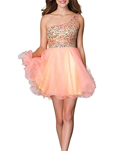 Orange Organza Shoulder Dresses Fanciest 2016 Homecoming Beaded Damen Mint Kurz One wvwnCFRq
