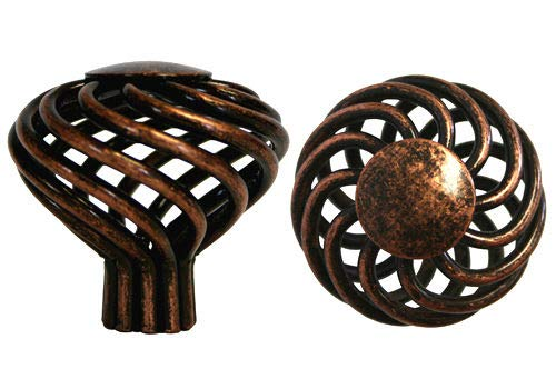 Glob Shop Lot of 25 Antique Copper machined Birdcage Kitchen Bathroom Cabinet Knobs 40mm