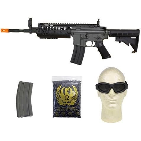 jing gong w4 metal gear aeg airsoft rifle, extra mag, google's, 4,350 bb's combo(Airsoft Gun) (Aeg Airsoft Starter Kit)