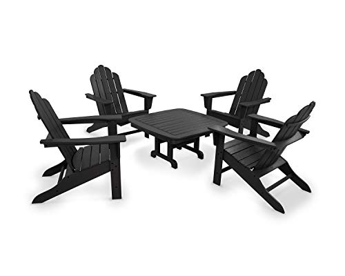 POLYWOOD PWS179-1-BL Long Island 5-Piece Conversation Group Adirondack Seating Set, ()