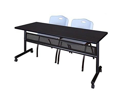 (Regency MKFTM7224MW47GY Flip Top Mobile Training Table with Modesty and M Chair Set, 72 x 24 inch, Mocha Walnut/Grey)