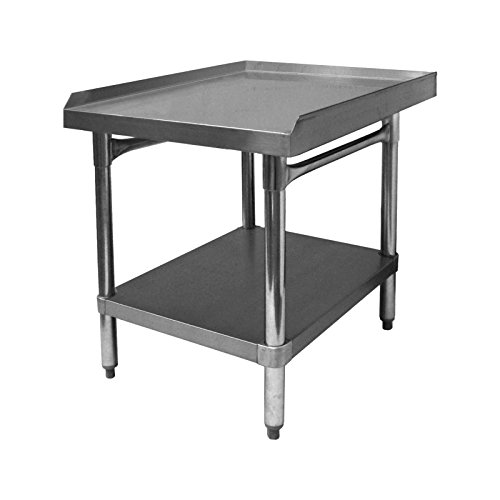 GSW Commercial Equipment Stand with Stainless Steel Top, 1 Galvanized Undershelf, 1'' Upturn on 3 Sides & Adjustable Bullet Feet, 24''W x 24''L x 24''H, NSF Approved by GSW