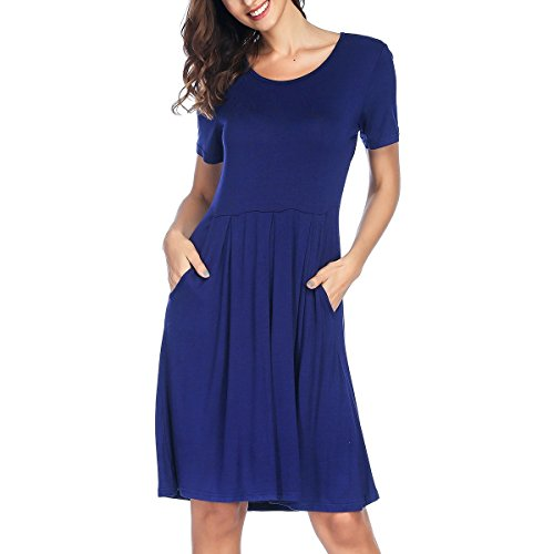 Women's Navy RIZUGG Knee Casual Pleated Sleeve with Dress Short Swing Loose Pockets Blue Length S1gxT