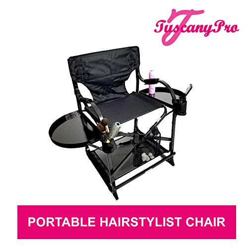 Unique TuscanyPro Portable Hairstylist Chair - Perfect for Hair Stylists, Salons, Movie Sets and More - Italian Design - US Patented - 22 Inch Seat Height ()