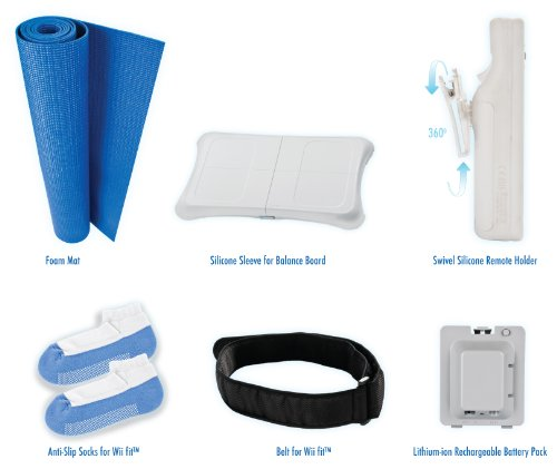 CTA Digital 7 in 1 Wii Fit U & Wii Fit Kit. Includes: Mat, Battery, Silicon Sleeve, Belt, Socks and Skin Case for Remote & Protective Case With Neck Strap for Wii U