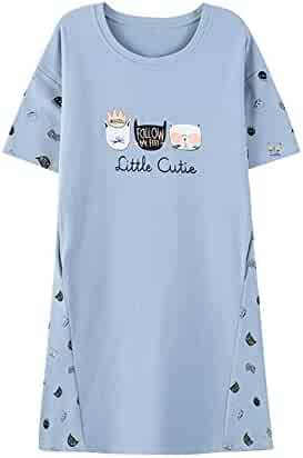 87a8d721d7 Vopmocld Big Girls  Adorable Shorts Sleeve Nightgown Cute Cats Summer  Pajamas
