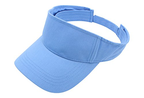 Top Level Sun Sports Visor Men Women - 100% Cotton One Size Cap Hat,Sky Blue Sky Cotton Cap
