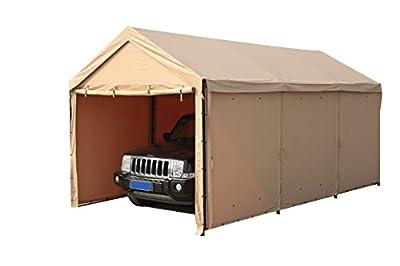 SORARA Carport 10 x 20 ft Heavy Duty Car Canopy Garage Versatile Shelter with Sidewalls, Beige