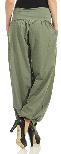 Unica Tuta Stoffa Pantaloni Donna Taglia Pantaloni 17633 Pump di Aladin Oliva malito Libero H4wPH