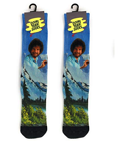 Oooh Yeah Socks ! Mens Crew Athletic Bob Ross Basics (Lay Down His Life For A Friend)