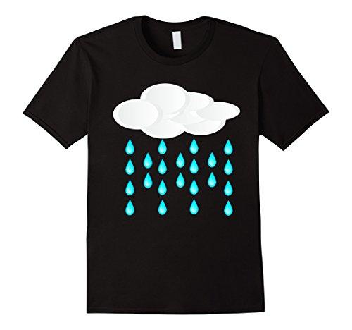 Mens Rain Cloud Costume T-Shirt Shower Rainbow Sun Thunder 2XL Black