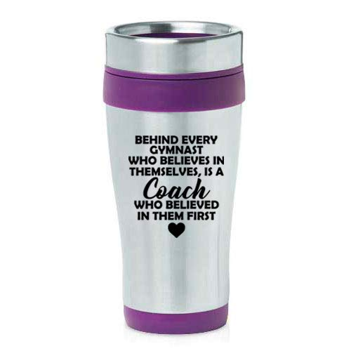 16 oz Insulated Stainless Steel Travel Mug Gymnastics Coach Gift (Purple)