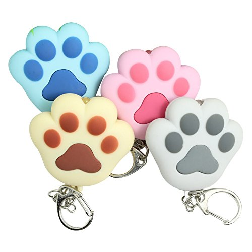 1PC ABS Cat's Paw Keychain with LED Voice Sound Key Holder for Kids 3D Animal Cartoon Keyrings (Random Color)
