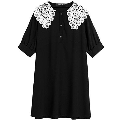 Xmy Collier dentelle doll perdre un grand nombre de manches courtes pour femmes minces, longues, la neige d'été robes tissées code sont