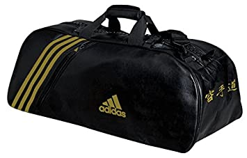 Adidas - Bolsa de deporte de piel sintética, talla L, color negro/dorado: Amazon.es: Deportes y aire libre