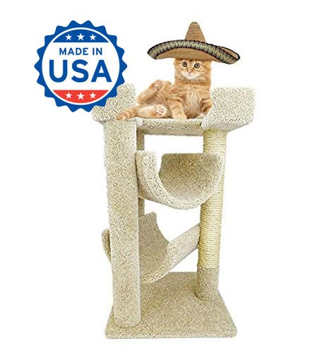 CozyCatFurniture 32 inches Cat Furniture for Big Cats, 3 Large Beds, Solid Wood Construction, Sisal Post, Beige Carpet