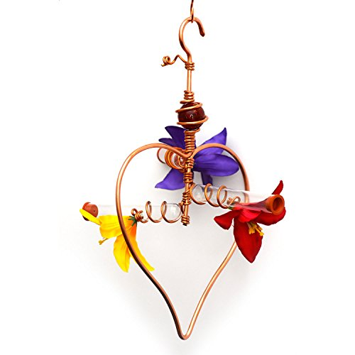 Hummingbird Feeder Glass Tubes Sweet B&B - Custom Handmade Feeder - Heart-shaped Copper Wiring (Large) (Heart Hummingbird Feeder)