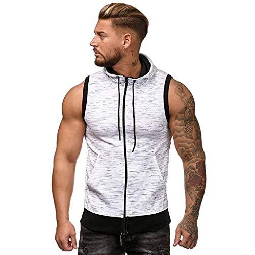 (iHPH7 Tank Tops Men Casual Hoodies Workout Tank Tops Sleeveless Sport Pullover Sweatshirt Loose Tops T-Shirt Spot Vest Jacket Patchwork Sleeveless XL White)