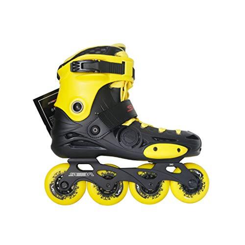 自信がある道路休眠ailj インラインスケート、アダルトシングルロースケートローラースケートプロの男性と女性のスケート2つのモード調整可能(2色) (色 : イエロー いえろ゜, サイズ さいず : EU 36/US 4.5/UK 3.5/JP 23cm)