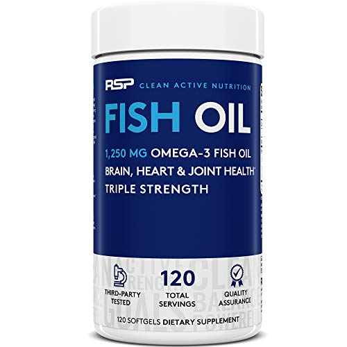 RSP Fish Oil Supplement - Triple Strength Omega 3 Softgels (1250 mg), HIGH EPA & DHA for Heart, Brain, Joint Health, 3X Strength Formula, 120 Caps (Packaging May Vary)