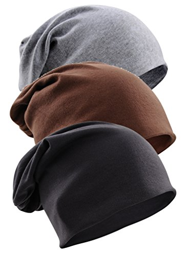 Gellwhu Unisex Cotton Beanies Soft Sleep Cap for Hairloss Cancer Chemo 3 - Pack (Pack C)