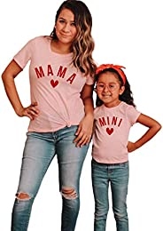 Kids' Mother's Day Matching Outfit Mom and Daughter Printed Short Sleeve Crew Neck Pullover Top Bl