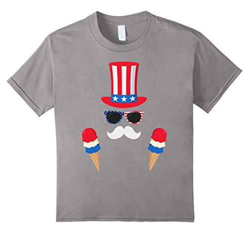 Kids Uncle Sam Costume Ice Cream Cone - 4th of July T-Shirt 6 (Young Uncle Sam Childrens Costumes)