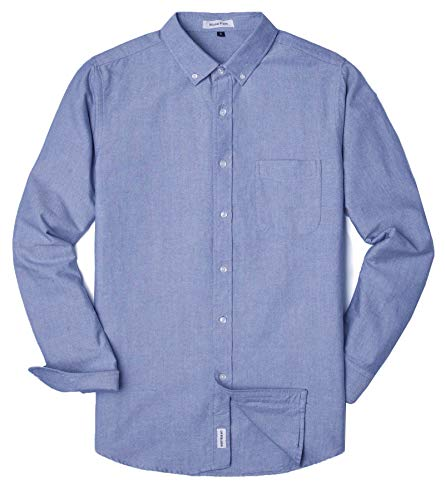 MUSE FATH Men's Oxford Dress Shirt-Cotton Casual Long Sleeve Shirt-Button Down Point Collar Shirt-Light Blue with Pocket-L Blue Striped Cotton Dress Shirt
