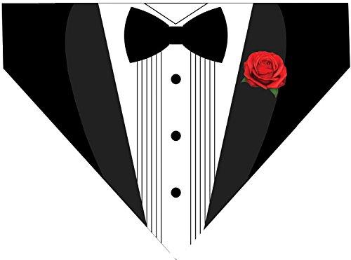 Tuxedo Over the Collar Dog Bandana - Basic Black White (LARGE) ()