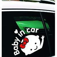 Baby in car 『女の子』 リボン 赤ちゃんが乗っています 車 シール ステッカー