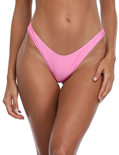 RELLECIGA Women's Pink High Cut Thong Bikini Bottom Size Medium