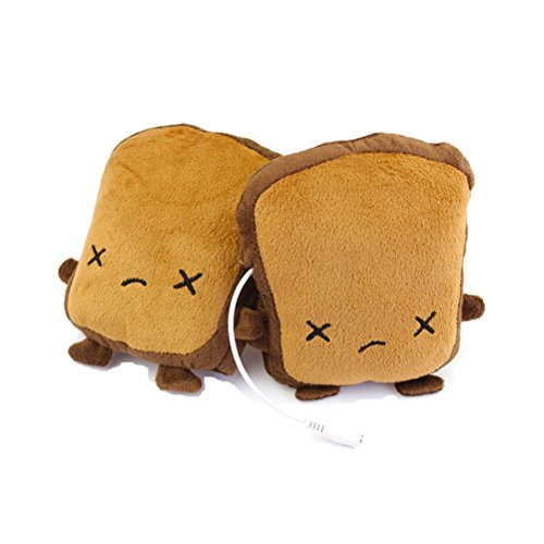 TSXGJ USB Heated Gloves Cute Toast Finger-Less USB Hand Warmers for Unrestricted Typing, Gaming, Crafting (cry)