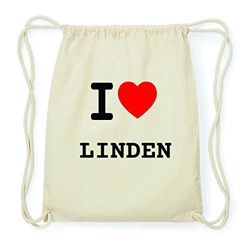 JOllify LINDEN Hipster Turnbeutel Tasche Rucksack aus Baumwolle - Farbe: natur Design: I love- Ich liebe