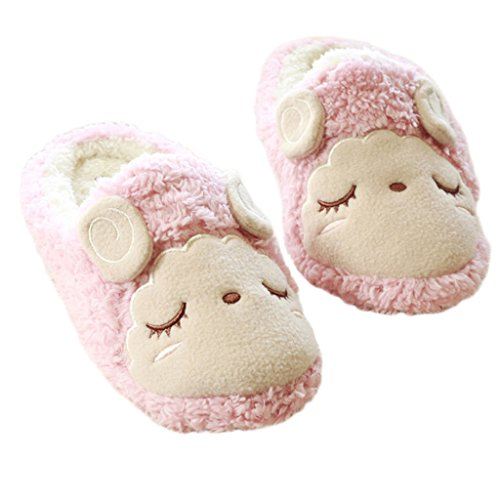 Fortuning's JDS Unisex Adults Couple Velvet Cozy Fleece House Footwear Lovely Sheep Comfy Flatform Slippers Pink XljmPIyDP