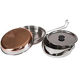 STANSPORT – Stainless Steel Mess Kit for Camping,Backpacking & Outdoors , Silver, 7″ L x 2.8″ W x 7″ H