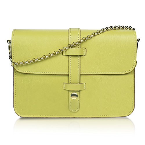 for Mansarovar Young Girls Crossbody Satchel Purse Leather Green Womens Bag Genuine 11wa0rq