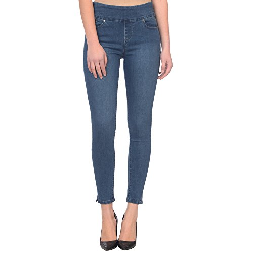 Lola Jeans Women's Rachel High Rise Pull On Ankle with 4-Way Stretch Denim (Medium Blue, 33/14)