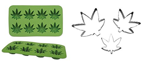 Pot Leaf Weed Marijuana Silicone Food Ice Mold Cookie Cutters Kitchen 420 Set