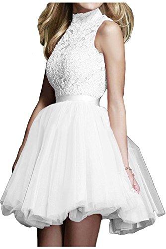 Weiß Damen mia Brautjungfernkleider Festlichkleider La Cocktailkleider Braut Kurz Promkleider Spitze Weiss Abendkleider PZxU1