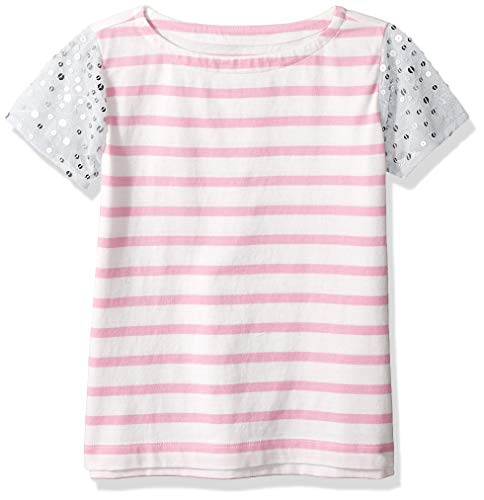 LOOK by Crewcuts Girls' Sequin Sleeve Tee, Pink Stripe/Silver, Small (6/7)