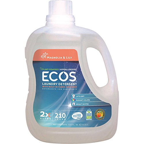 (ECOS 2X Ultra Plant Powered Hypoallergenic, Magnolia and Lilies Scent, Laundry Detergent 1.64 Gallon (6.21 L) - 210 Loads)