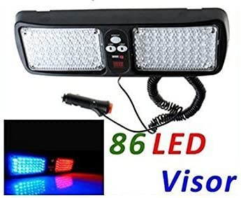 LifeUp 86 LED Windshield Sunshield Emergency Warning Lights Red Super Bright Law Enforcement Hazard Strobe Lights for Visor Maximum Visibility with 12 Flashing Patterns