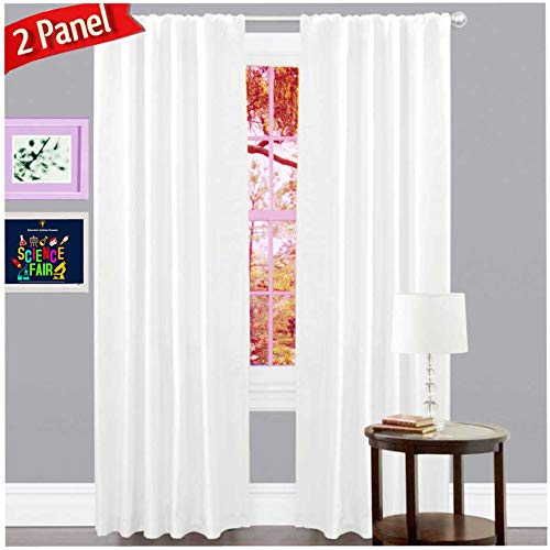 Window Panels Set of 2,Cotton Curtains inTextured Fabric 50x96 -White,Farm House Curtain,Tab Top Curtains,Room Darkening Drapes,Curtains for Bedroom,Curtains for Living Room,Curtains Set of 2 ()