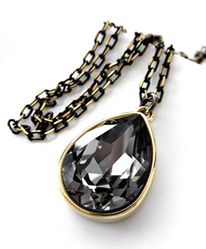Black Teardrop Crystal Pendant Necklace with Swarovski Crystal, Gold-Plated Bezel with Box - Box Bezel